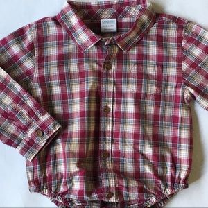 Red plaid shirt 18 24 months Snap top Gymboree boy
